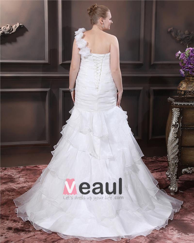 Organza One Shoulder Beading Sheath Sweep Plus Size Wedding Dresses