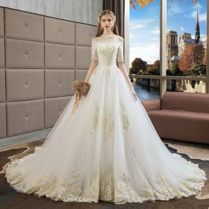 Affordable Ivory Wedding Dresses 2019 A-Line / Princess Off-The-Shoulder 1/2 Sleeves Backless Appliques Lace Court Train Ruffle