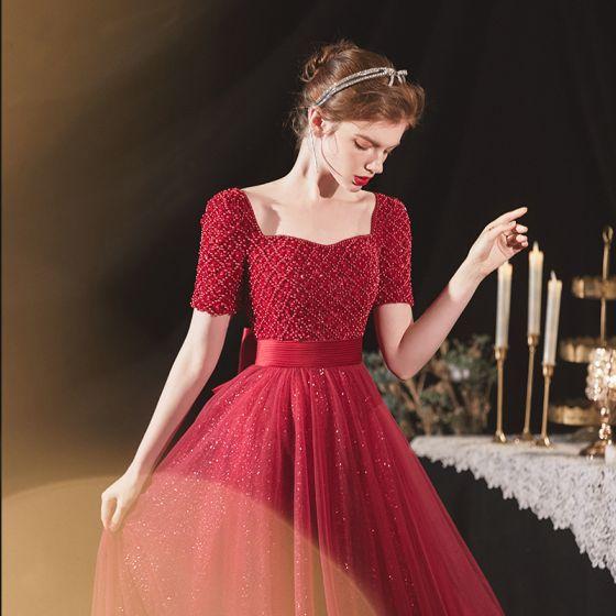 Elegant Burgundy Engagement Prom Dresses 2020 A-Line / Princess Square Neckline Short Sleeve Sash Beading Glitter Tulle Floor-Length / Long Ruffle Backless Formal Dresses