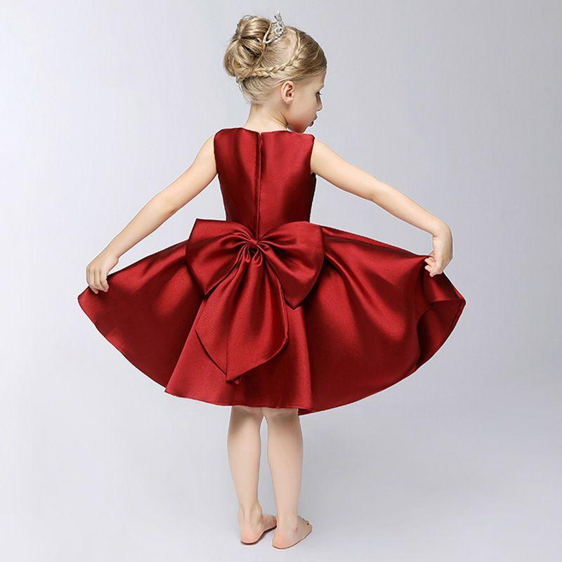 Chic / Beautiful Church Wedding Party Dresses 2017 Flower Girl Dresses Burgundy Short Ball Gown Bow Sash Cascading Ruffles V-Neck Sleeveless