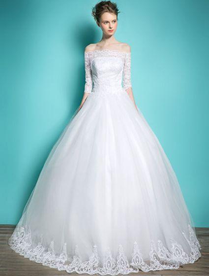Robes De Mariée Élégantes 2016 Robe De Bal Au Large De La Dentelle Épaule Robe De Mariée Applique Dos Nu
