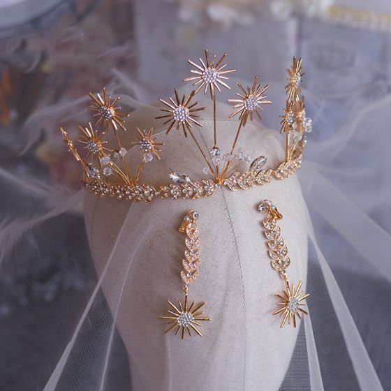Chic / Beautiful Gold Bridal Hair Accessories 2019 Metal Leaf Earrings Tiara Crystal Rhinestone Wedding Accessories