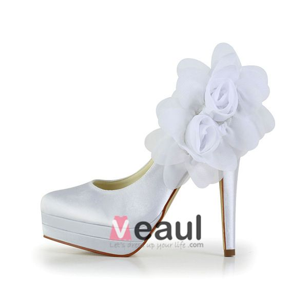Classic White Bridal Shoes Stilettos High Heel Pumps With Platform