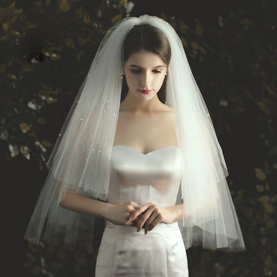Romantic Ivory Short Wedding Veils 2020 Tulle Beading Pearl Wedding