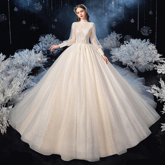 Victorian Style Champagne See-through Bridal Wedding Dresses 2020 Ball Gown High Neck Puffy Long Sleeve Backless Beading Sequins Glitter Tulle Cathedral Train Ruffle