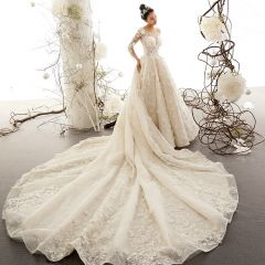 Best Champagne See-through Wedding Dresses 2019 A-Line / Princess Scoop Neck Long Sleeve Backless Appliques Lace Beading Cathedral Train Ruffle