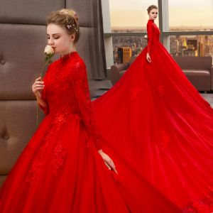 Chinese style Muslim Red Wedding Dresses 2019 A-Line / Princess High Neck Beading Appliques Lace Flower Long Sleeve Royal Train