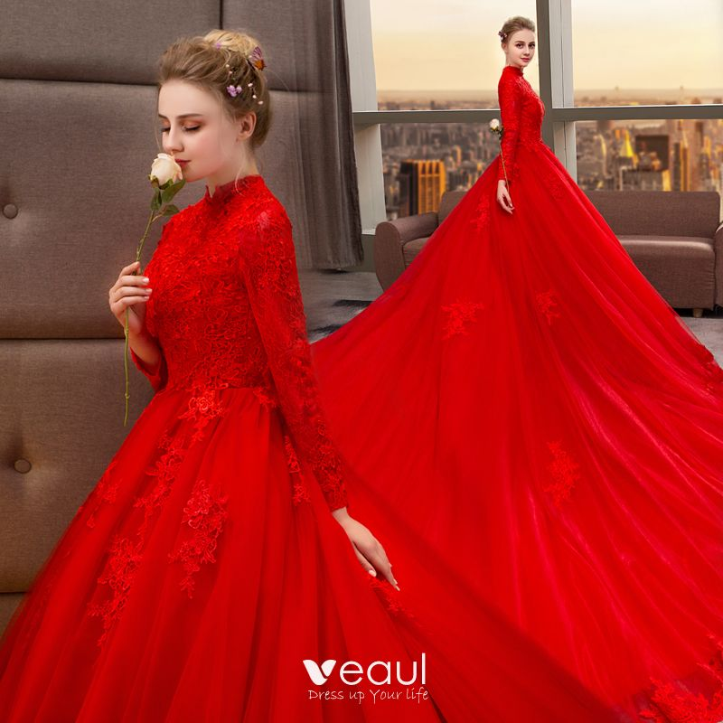 19c8b6f91d Chinese style Muslim Red Wedding Dresses 2019 A-Line / Princess High ...