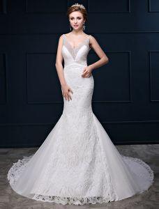 Glitter Sjöjungfru Djup V-ringad Backless Beading Paljett Spets Bröllopsklänningar