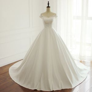 Modest / Simple White See-through Wedding Dresses 2018 A-Line / Princess Scoop Neck Cap Sleeves Beading Sequins Chapel Train Ruffle