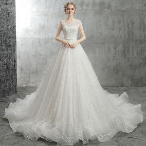 Modern / Fashion White Wedding Dresses 2018 A-Line / Princess Bow Beading Crystal Pearl Sequins Scoop Neck Backless Cap Sleeves Cathedral Train Wedding