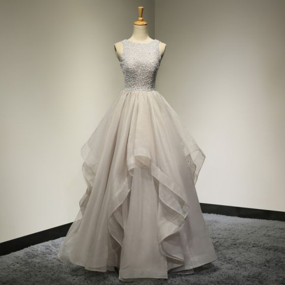 Piękne Szary Sukienki Na Bal 2017 Sukienki Wizytowe Sukienki Wieczorowe Princessa Wycięciem Bez Rękawów Frezowanie Wzburzyć Bez Pleców Organza