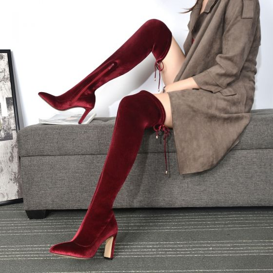 Fashion Red Street Wear Suede Womens Boots 2021 High Heels 8 cm Thick Heels Pointed Toe Boots