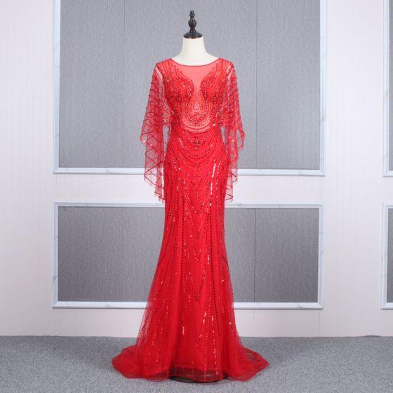 Wysokiej Klasy Czerwone Przezroczyste Sukienki Wieczorowe 2020 Syrena / Rozkloszowane Wycięciem Długie Rękawy Frezowanie Trenem Sąd Sukienki Wizytowe