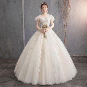Schön Champagner Brautkleider / Hochzeitskleider 2019 Ballkleid Rundhalsausschnitt Perlenstickerei Spitze Blumen Kurze Ärmel Rückenfreies Lange
