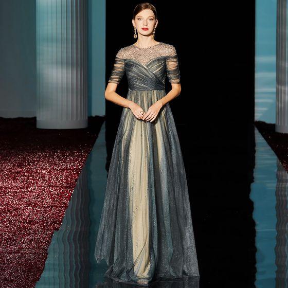 High-end Dark Green Evening Dresses  2020 A-Line / Princess Scoop Neck Beading Sequins Short Sleeve Tea-length Formal Dresses