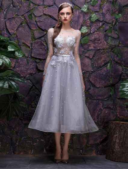 2016 Fashion Square Neckline Applique Lace Flowers Silver Party Dress With Sequins