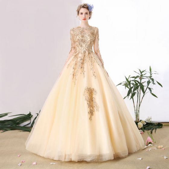 Luxury / Gorgeous A-Line / Princess Wedding Dresses 2017 Champagne Crossed Straps Strappy Chapel Train Organza Scoop Neck Wedding Long Sleeve