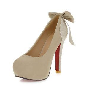 Stilettos Mode Escarpin Beige Femmes Talon Aiguille Chaussures