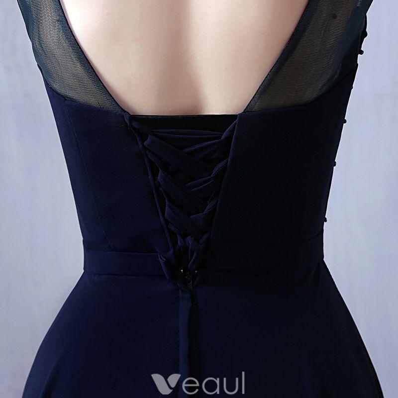 Glamouröse Abendkleider 2016 U-ausschnitt Sicken spitze Dunkelblau Chiffon Langen Kleid