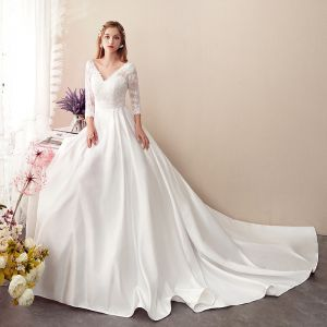 Affordable Ivory Satin See-through Wedding Dresses 2019 A-Line / Princess V-Neck 3/4 Sleeve Backless Appliques Lace Chapel Train