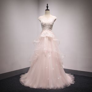 Elegant Pearl Pink Prom Dresses 2018 A-Line / Princess Beading Pearl Sequins Lace Flower Cascading Ruffles Scoop Neck Backless Sleeveless Sweep Train Formal Dresses