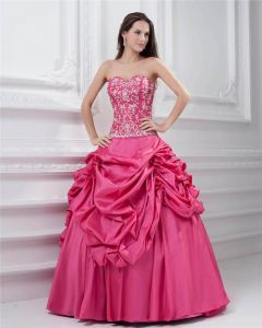 Ball Gown Sleeveless Taffeta Ruffles Applique Embroidery Sweetheart Floor Length Quinceanera Prom Dresses