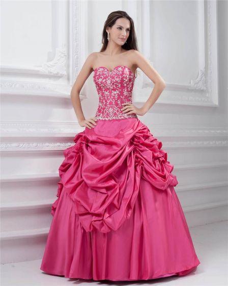 Ball Gown Sleeveless Taffeta Ruffles Applique Embroidery Sweetheart Floor Length Quinceanera Prom Dresses