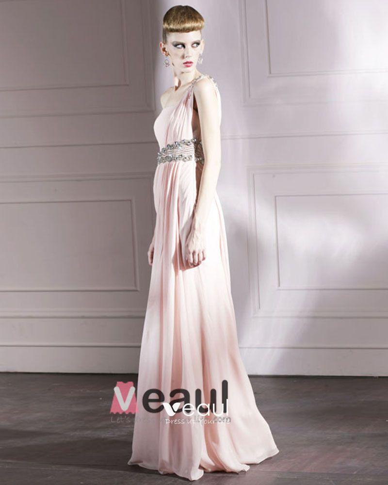 Cloth Charmeuse One Shoulder Neckline Bead Floor Length Evening Dress