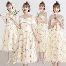 Śliczny Szampan Sukienki Dla Druhen 2019 Princessa Pióro Aplikacje Z Koronki Długość Herbaty Wzburzyć Bez Pleców Sukienki Na Wesele