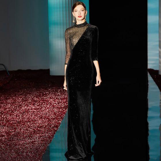 Moda Czarne Sukienki Wieczorowe 2020 Syrena / Rozkloszowane Wysokiej Szyi 3/4 Rękawy Frezowanie Cekinami Poliester Długie Sukienki Wizytowe