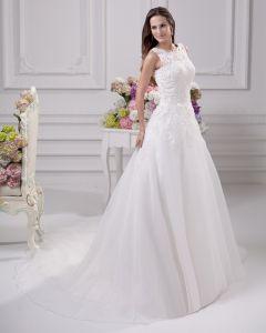 Elegante Juweel Vloer Lengte Kant Satijn Vrouwen A Lijn Bruidsjurken Trouwjurken