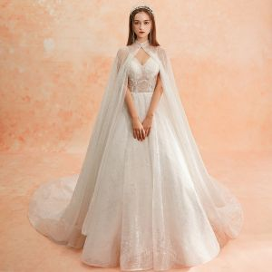 Luxury / Gorgeous Ivory See-through Wedding Dresses With Shawl 2019 A-Line / Princess Spaghetti Straps Sleeveless Backless Glitter Tulle Chapel Train Ruffle
