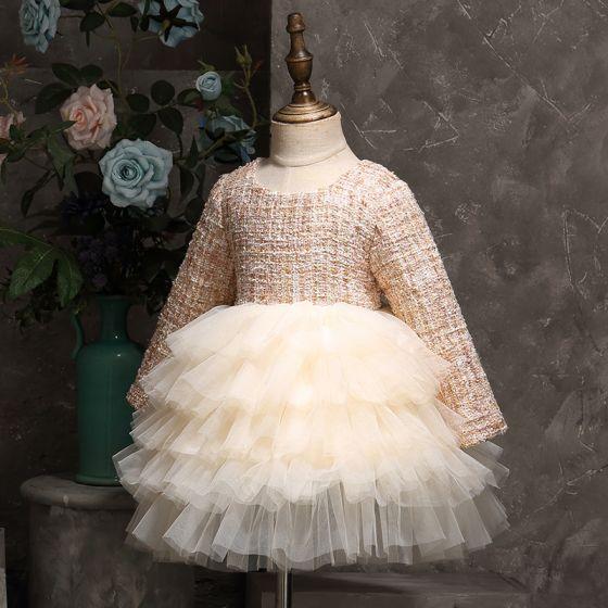 Erschwinglich Champagner Geburtstag Blumenmädchenkleider 2020 Ballkleid Rundhalsausschnitt Lange Ärmel Flechten Kurze Fallende Rüsche