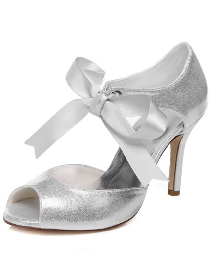 Sparkly Wedding Sandals With Ankle Strap 9 cm Stiletto Heels Silver Bridal Shoes Peep Toe Glitter High Heel