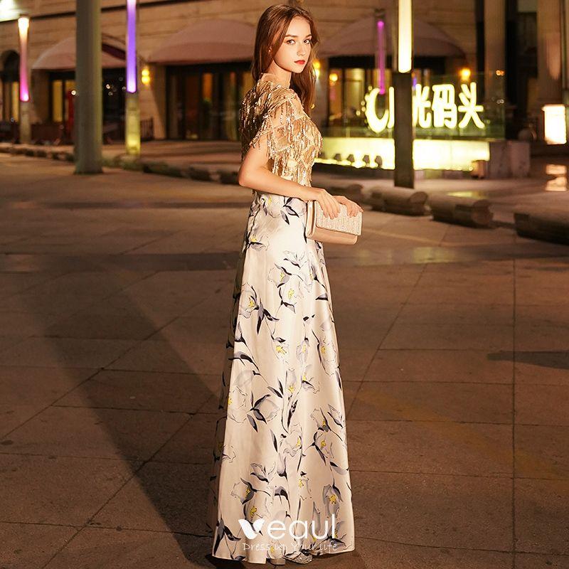 Elegante Gold Abendkleider 2019 A Linie Rundhalsausschnitt ...