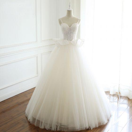 Elegant Ivory Wedding Dresses 2019 A-Line / Princess Spaghetti Straps Beading Sequins Pearl Lace Flower Sleeveless Backless Floor-Length / Long