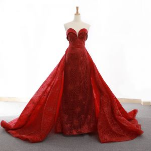 High-end Red Evening Dresses  2020 A-Line / Princess Sweetheart Sleeveless Glitter Tulle Sash Court Train Ruffle Backless Formal Dresses