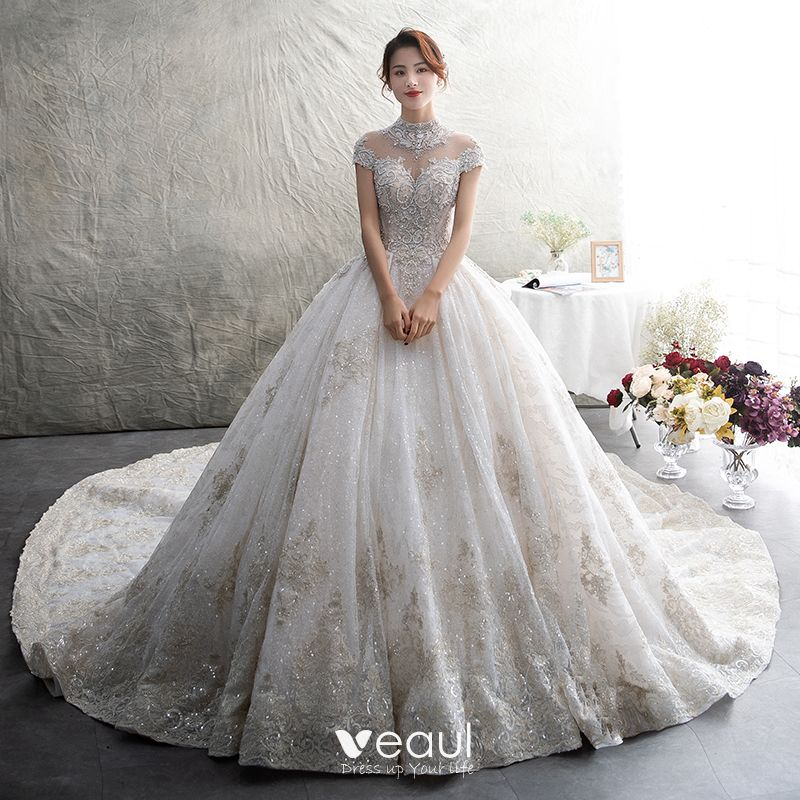 55a30e8aa410c Luxury   Gorgeous Ivory See-through Wedding Dresses 2019 Ball Gown High  Neck Short Sleeve Backless Appliques Lace Rhinestone Beading Glitter Tulle  Cathedral ...