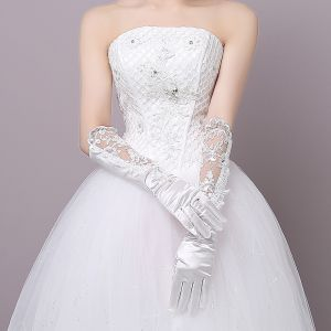 Chic / Beautiful Charmeuse Tulle Wedding Bridal Gloves