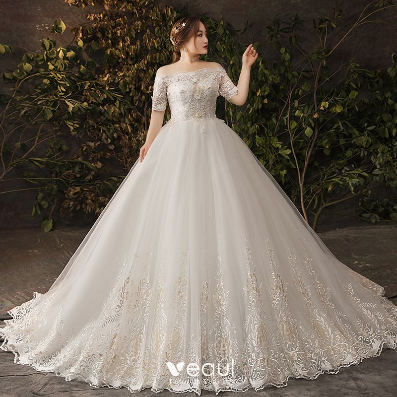 Amazing / Unique White Plus Size Wedding Dresses 2019 Tulle Appliques Backless Beading Pearl Handmade  Chapel Train