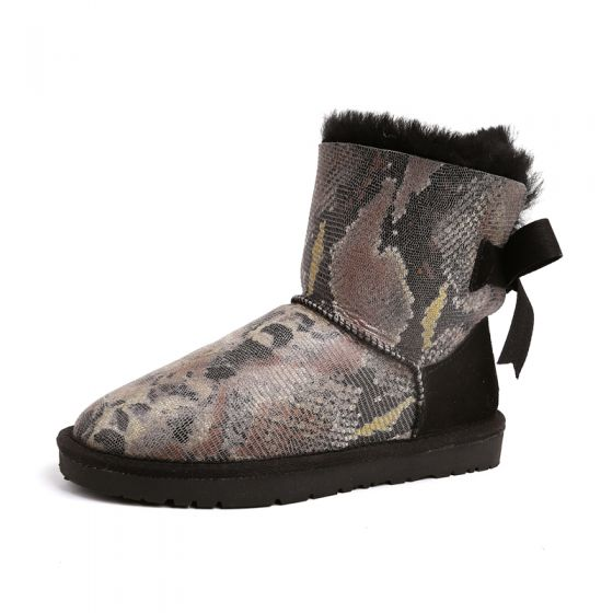 Modern / Fashion Snow Boots 2017 Black Leather Ankle Snakeskin Print Lace-up Bow Casual Winter Flat Womens Boots