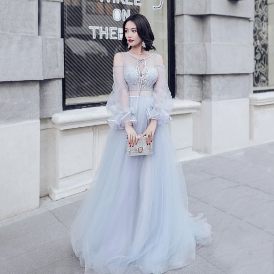 Modern / Fashion Sky Blue Pierced Evening Dresses  2017 Empire Scoop Neck Strapless Long Sleeve Appliques Lace Court Train Ruffle Backless Formal Dresses