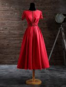 Elegant Evening Dresses 2017 Beading Scoop Neckline Lace Sash And Sleeves Red Satin Tea-length Dress