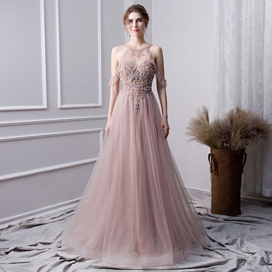 Vestidos de noche rosa clara 2019