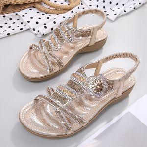 Charming Summer Gold Beach Slipper & Flip flops 2020 Rhinestone Open / Peep Toe Womens Shoes
