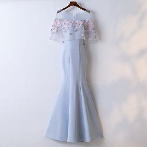 Chic / Beautiful Sky Blue Evening Dresses  2017 Trumpet / Mermaid Lace Flower Artificial Flowers Scoop Neck Zipper Up 1/2 Sleeves Ankle Length Evening Party