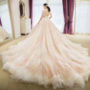 Elegante Champagner Brautkleider 2018 Ballkleid Mit Spitze Applikationen Perlenstickerei Rundhalsausschnitt Rückenfreies 3/4 Ärmel Königliche Schleppe Hochzeit