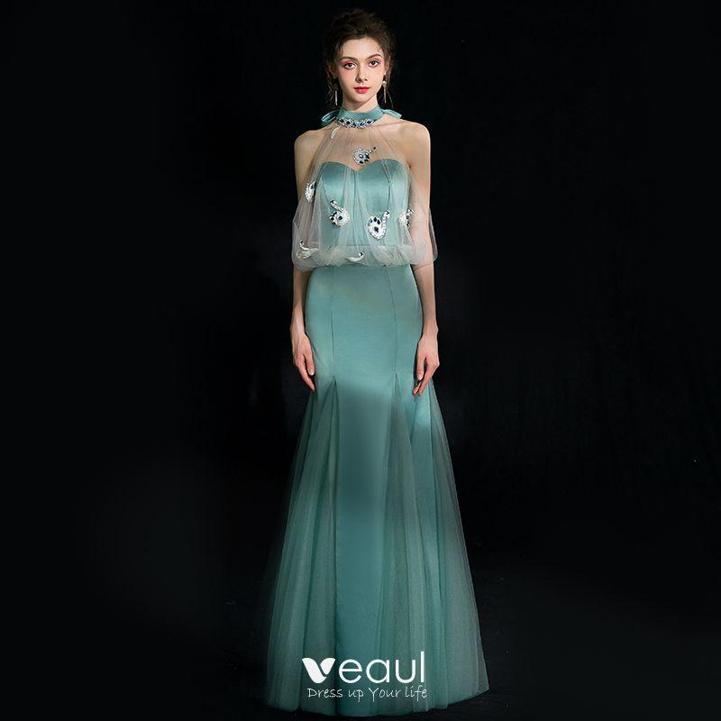 3df51d290 Encantador Jade Verde Vestidos de noche 2018 Trumpet   Mermaid Crystal  Rhinestone Bowknot Halter Sin Espalda Sin ...