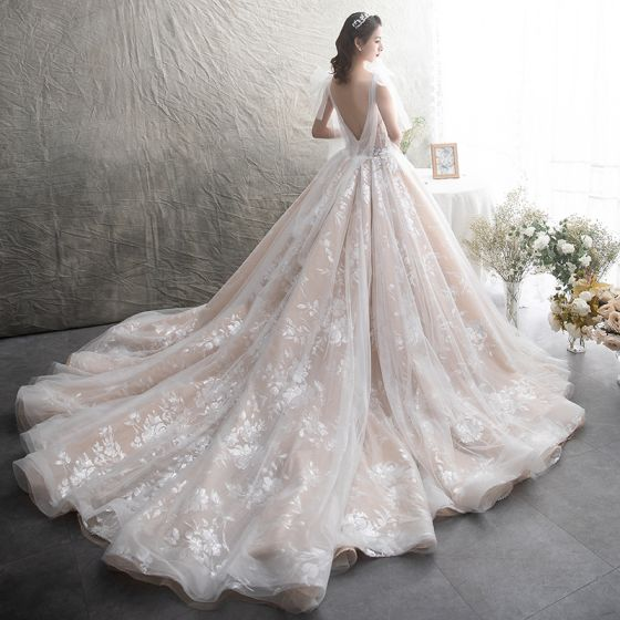 Chic / Beautiful Champagne See-through Wedding Dresses 2019 A-Line / Princess Scoop Neck Sleeveless Backless Glitter Appliques Lace Chapel Train Ruffle